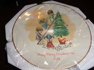 Fran Mar greeting cards plate Happy Merry Christmas Tree 1973