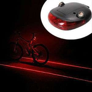 Cycling Bike Safety Bicycle 2 Laser Projector Red Light Beam 5 LED