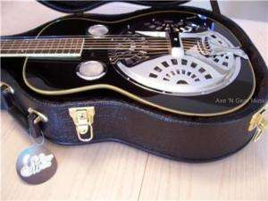 MORGAN MONROE BLACK RESONATOR DOBRO GUITAR w/ HARD CASE