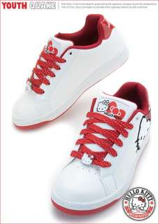 Sanrio Hello Kitty Ladys Comfy Sneakers Low Profile Shoes White Red