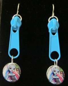 Monster High Dolls Abbey Bominable Blue Zipper Earrings Handmade Doll