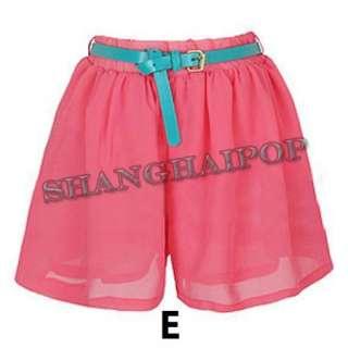 Women High Waist Shorts Chiffon Leopard Polka Dots Pleated Mini Skirt
