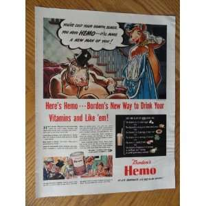 Bordens Hemo, Vintage 40s full page print ad. Color Illustration