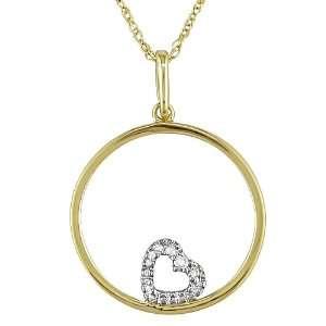 10K yellow gold .01ctw diamond heart pendant with 17 inch