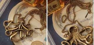 Steampunk Vintage Necklace Pendant Golden Octopus Paul Prophet Retro
