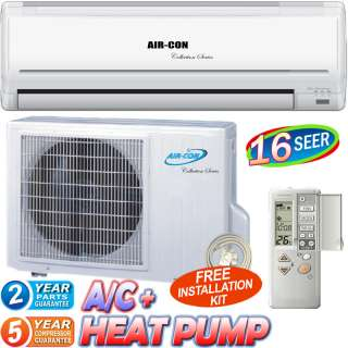 BTU Ductless Air Conditioner, Mini Split Heat Pump, 16 SEER Inverter