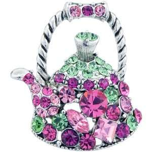 Rose Kettle Swarovski Crystal Pin Brooch Jewelry