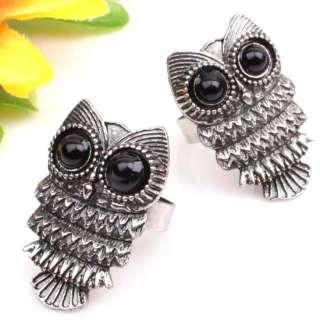 NEW~~ Tibetan Silver Cute Black Eye Owl Ring Size 8 10 Adjustable 1pcs