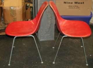 Vintage Herman Miller Red/Orange Fiberglass Shell Side Chairs Eames