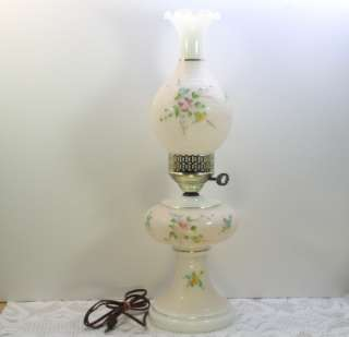 White/Milk Glass Electric Hurricane Lamp Chimney Shade Hand Painted