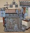 Baby Boutique   Blue Zebra 15 PCS Boy Girl Crib Nursery Bedding Set