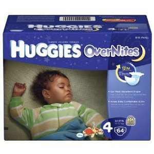 Huggies Overnites Diapers, Size 4, Big Pack, 64 Count