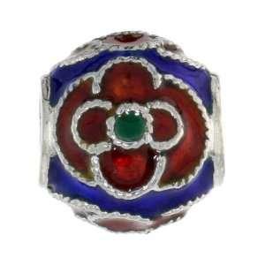 925 Sterling Silver Pandora Type Multi Color Floral Barrel