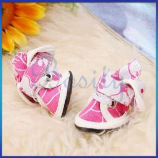 Pet Dog Cat Floral Canvas Boots Shoes Sneakers Bootlace Spring Fall