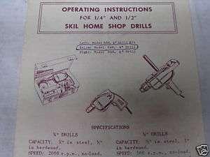 Vintage SKIL HOME SHOP DRILLS Operating Instr 1950 60s