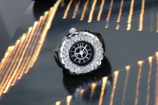 White Black Mini Ring Watch Crystal Ladies Womens Girls Fashion Ring