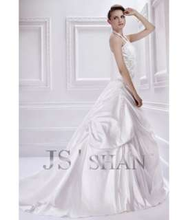SALE Ivory Satin Applique StraplessTrain Bridal Gown Wedding Dress
