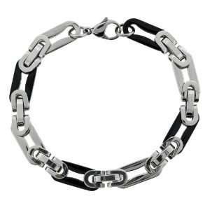 Stainless Steel Black Colored Two Tone Intertwining Link Bracelet