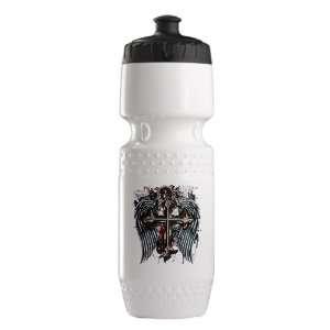 Trek Water Bottle White Blk Cross Angel Wings Everything