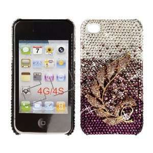 3D Purple Leaf SWAROVSKI CRYSTALS BLING COVER CASE 4 Apple iPhone 4/4S
