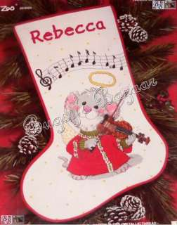 Janlynn MUSICAL MOUSE w Violin Counted Cross Stitch Christmas Stocking