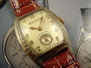 SPECTACULAR ART DECO MENS BULOVA WATCH VINTAGE 1950s SUPER FANCY