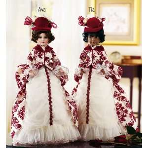 Red Damask Design Dress Victorian Doll Tia By Collections