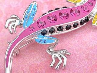 Color Enamel Silver Tone Lizard Reptile Swarovski Crystal Rhinestone