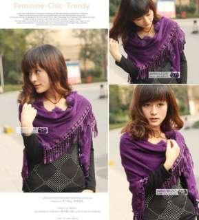 new vintage women black/red rabbit fur scarf shawl wrap