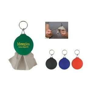 Rubber Key Chain With Microfiber Cleaning Cloth