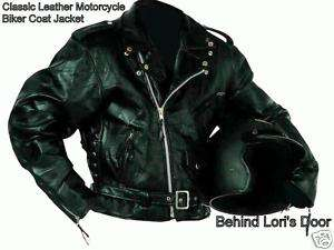 Mens XL BLACK LEATHER Motorcycle Biker Jacket 1X XL