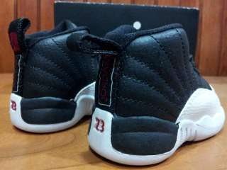 001] Baby Toddlers Infant Air Jordan 12 Retro Playoffs Black White Red