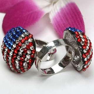 American Flag Crystal Glass Adjustable Finger Ring #6.5