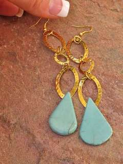 BIG TURQUOISE 4 INCH EARRINGS GOLD CHAIN AQUA BLUE GEMSTONE JEWELRY