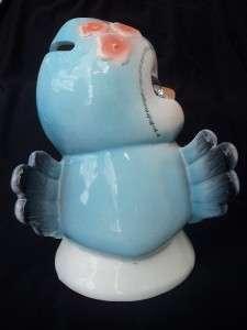 RETRO BLUEBIRD BLUE BIRD PIGGY CERAMIC COIN BANK FIGURINE REPLICA