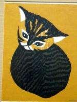 Vintage FRAMED KAORU KAWANO WOODBLOCK JAPANESE PRINT Young Kitten   N