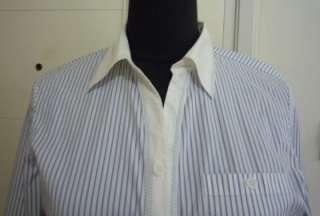 Ladies Stripe Long Sleeve Blouse Sz M White F576