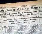NOTRE DAME Fighting Irish COLLEGE FOOTBALL National Champions 1946 Old