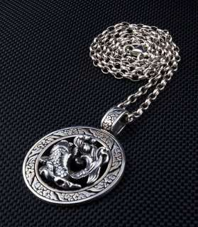 JAPANESE KOI TATTOO STERLING SILVER PENDANT NECKLACE