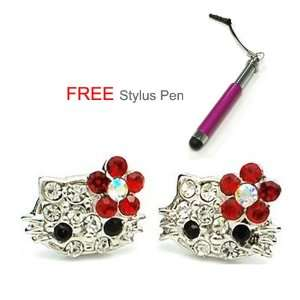 com X small 1/4 Hello Kitty Crystal Stud Earrings w/ Red Flower Bow