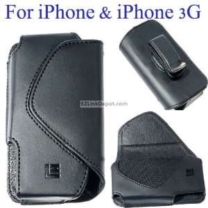 Horizontal Black Leather Case Cover with Belt Clip for Apple iPhone 3G
