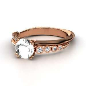 Isabella Ring, Round Rock Crystal 18K Rose Gold Ring with