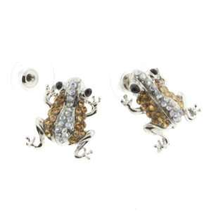 Very Cute Silver Tone Yellow Clear Rhinestone Frog Earrings With Post