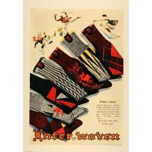 1938 Ad Interwoven Mens Wool Socks Price Snow Skiing   Original Print