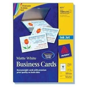 com Avery Inkjet Business Card. 250 CARDS 2X3.5 WHITE INKJET BUSINESS