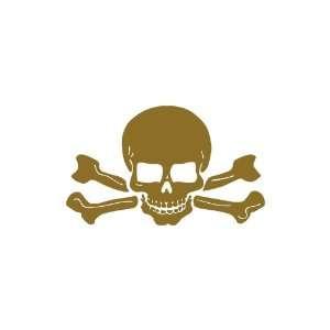 Skull and Crossbones small 3 Tall GOLD vinyl window decal