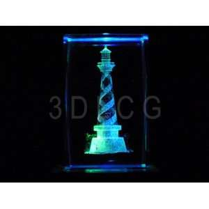 Lighthouse 3D Laser Etched Crystal S1