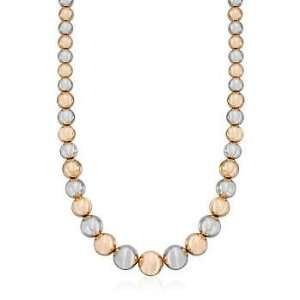 Sterling Silver and Rose Gold Vermeil Graduated Bead Necklace Jewelry