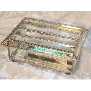 Jewelry Box   All Beveled Tiffany Still Stained Glass Art Jewelry Box