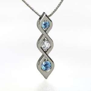 Triple Twist Pendant, Round Blue Topaz 14K White Gold Necklace with